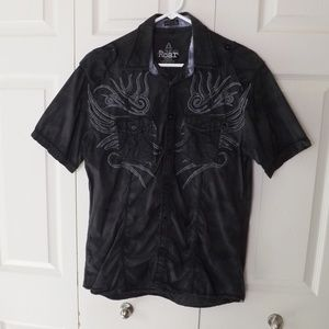 Roar Distressed Embroidered Buttoned Shirt